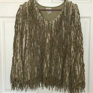 Vintage Crochet Brown Leather Fringe Top Small